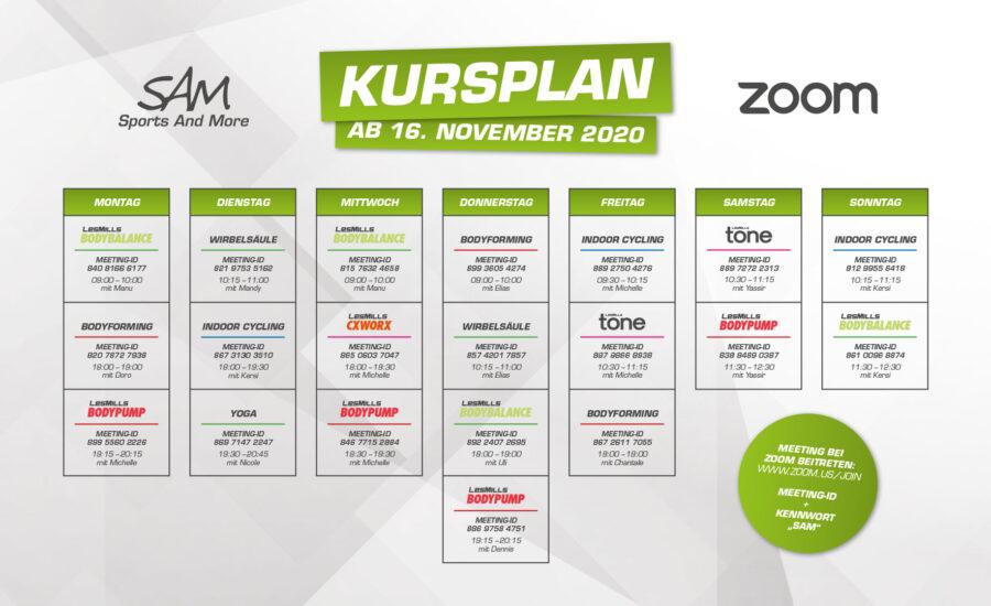 Zoom-Kursplan ab 16. November