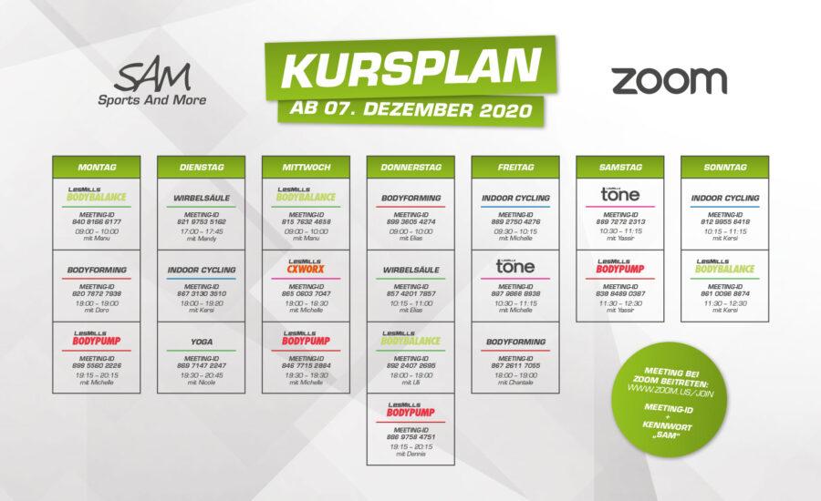 Zoom-Kursplan ab 07. Dezember