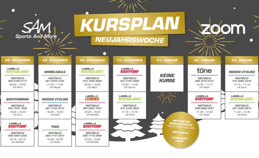 Zoom-Kursplan Neujahr