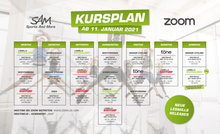 Zoom-Kursplan ab 11. Januar