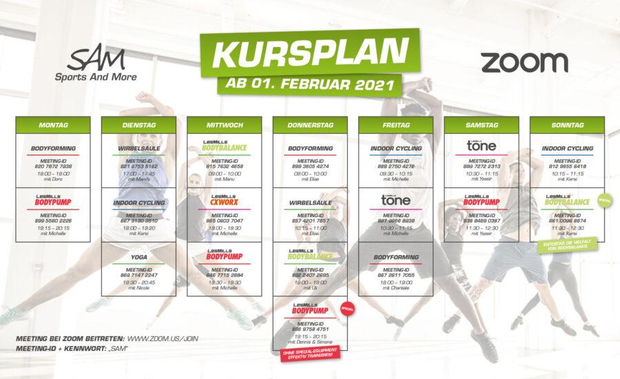 Zoom-Kursplan ab 1. Februar