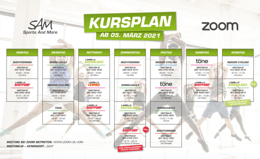 Zoom-Kursplan ab 5. März