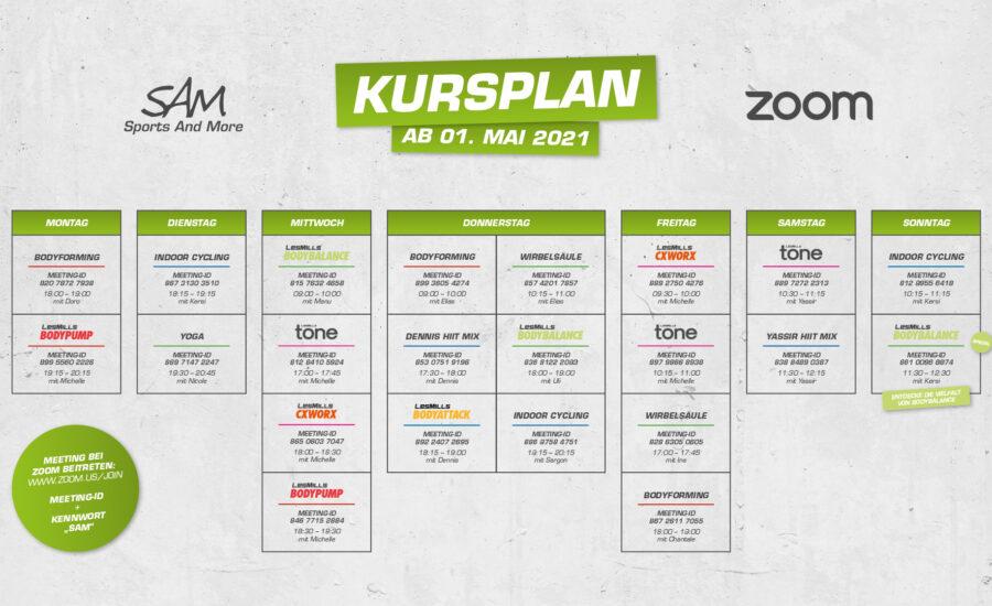 Zoom-Kursplan ab 01. Mai