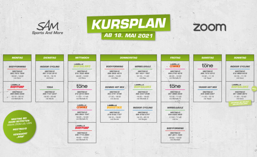 Zoom-Kursplan ab 18. Mai