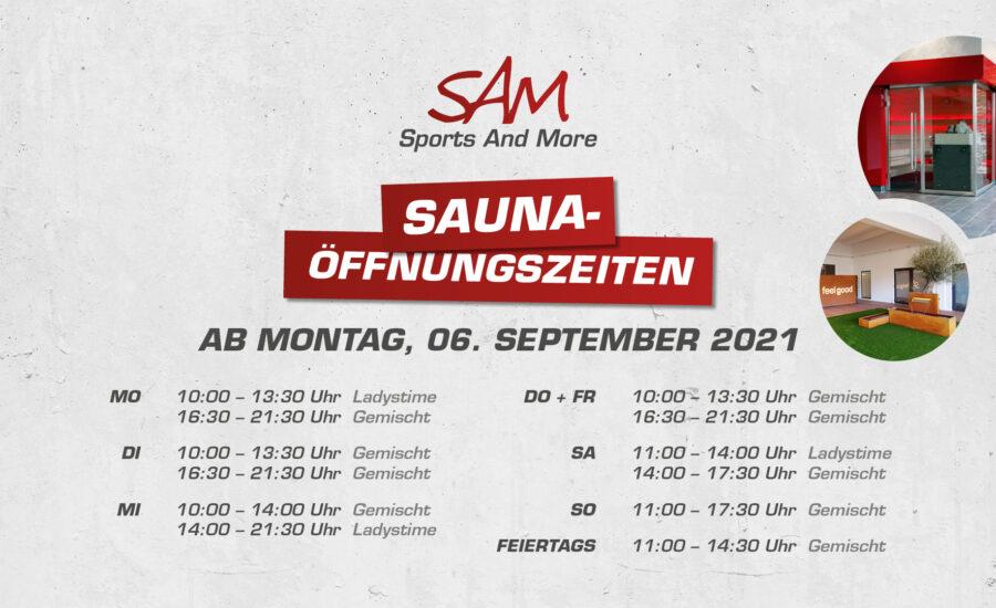 Saunaöffnungszeiten  ab September